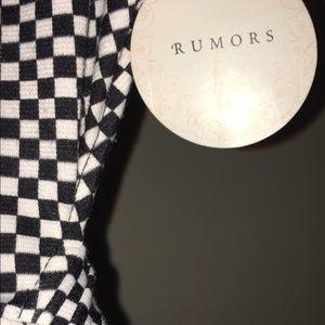 rumors Tops - Rumors Black & White Open bAck checkered top.